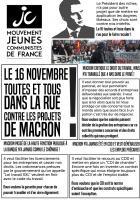 Tract « Le 16 novembre, toutes et tous dans la rue contre les projets de Macron » - JC Oise, 13 novembre 2017