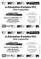 Invitation « La Révolution d'octobre 1917, d'hier à aujourd'hui » - PCF Valois, 20 décembre 2017