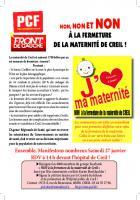 Flyer « Non, non et non à la fermeture de la maternité de Creil ! » - PCF Oise, 12 janvier 2018