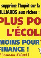Autocollant « Plus pour l'école, moins pour la finance ! » - PCF Oise, 7 avril 2018
