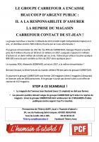 Tract «Le groupe Carrefour a encaissé beaucoup d'argent public : il a la responsabilité d'assurer la reprise du magasin Carrefour Contact de Saint-Jean ! » - PCF Beauvais, 11 juin 2018