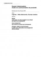 Dossier hebdomadaire d'aide à la communication de proximité. Semaine du 18 au 24 juin 2018