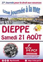 Affichette « 27e édition de la Journée à la mer pour le droit aux vacances » - PCF Oise, 21 août 2021